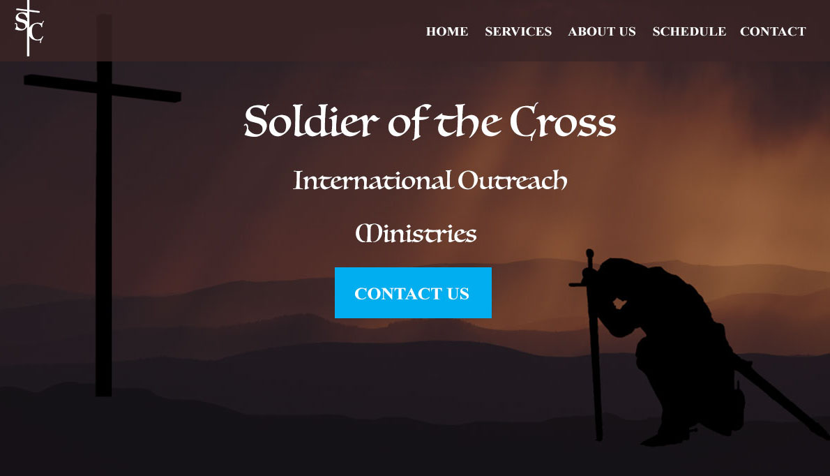An image of Soldiers of the Cross Photoshop website design