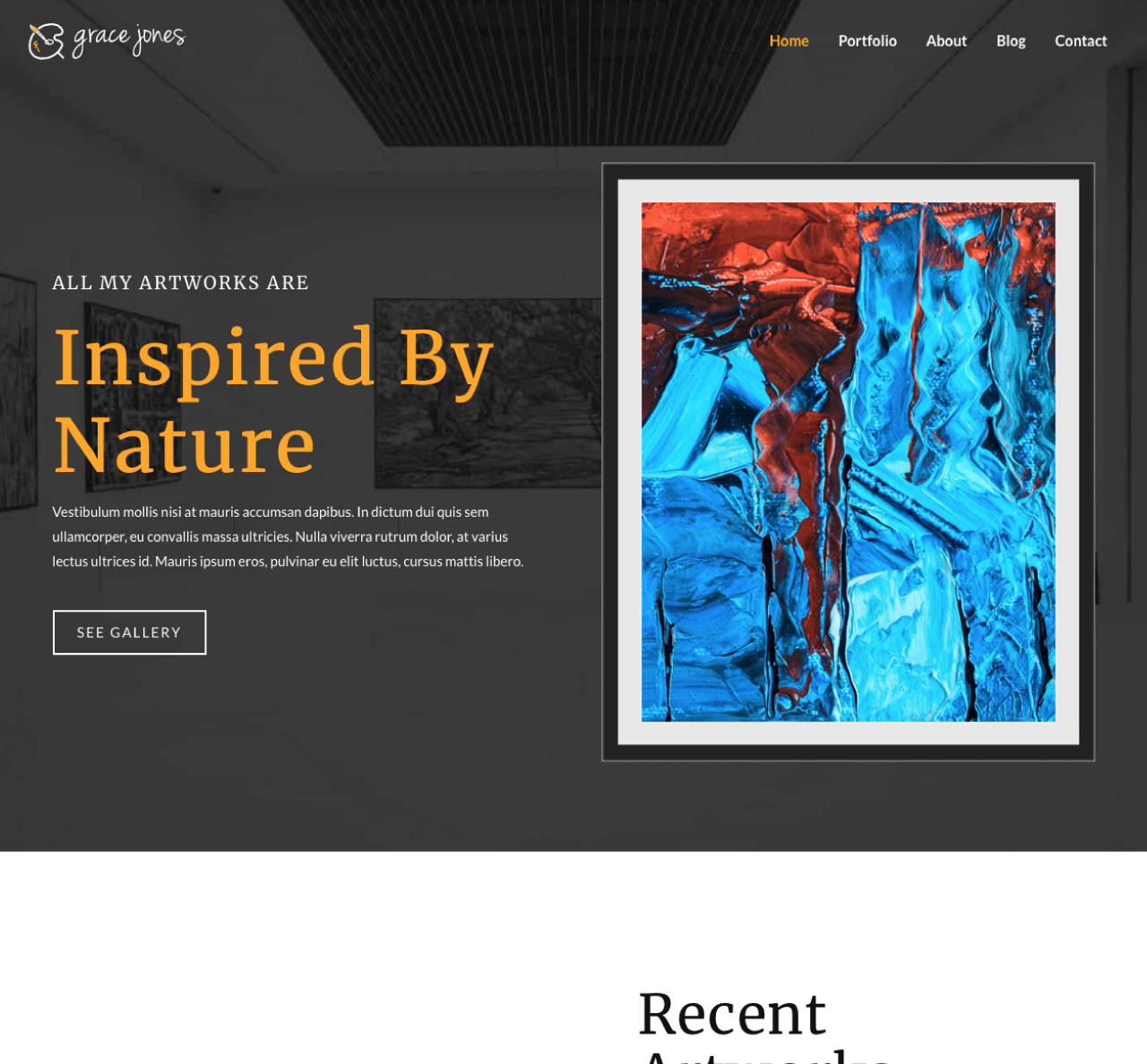 Center Image of an Artist Story Website