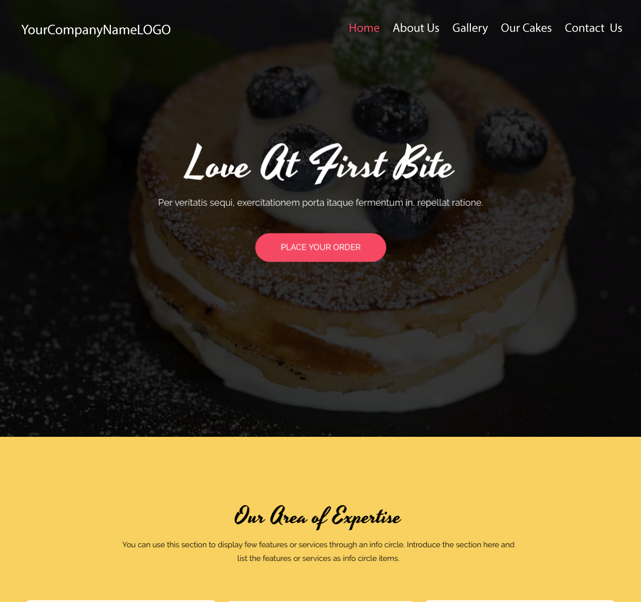 Center Image of Bakery Website
