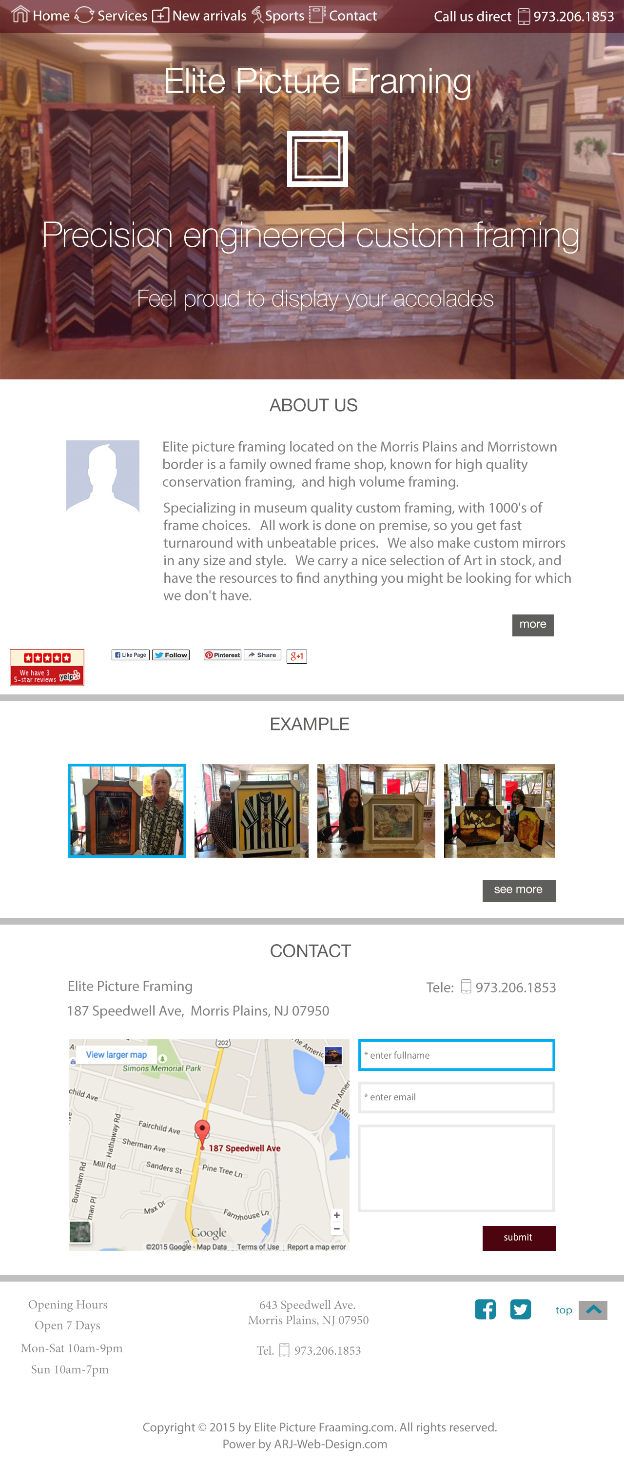 An image of a Template for Elite Piture Framing website design