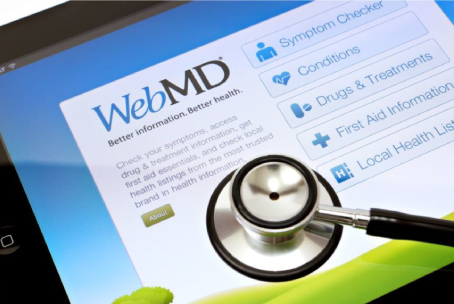 A screen shot of the WebMD App