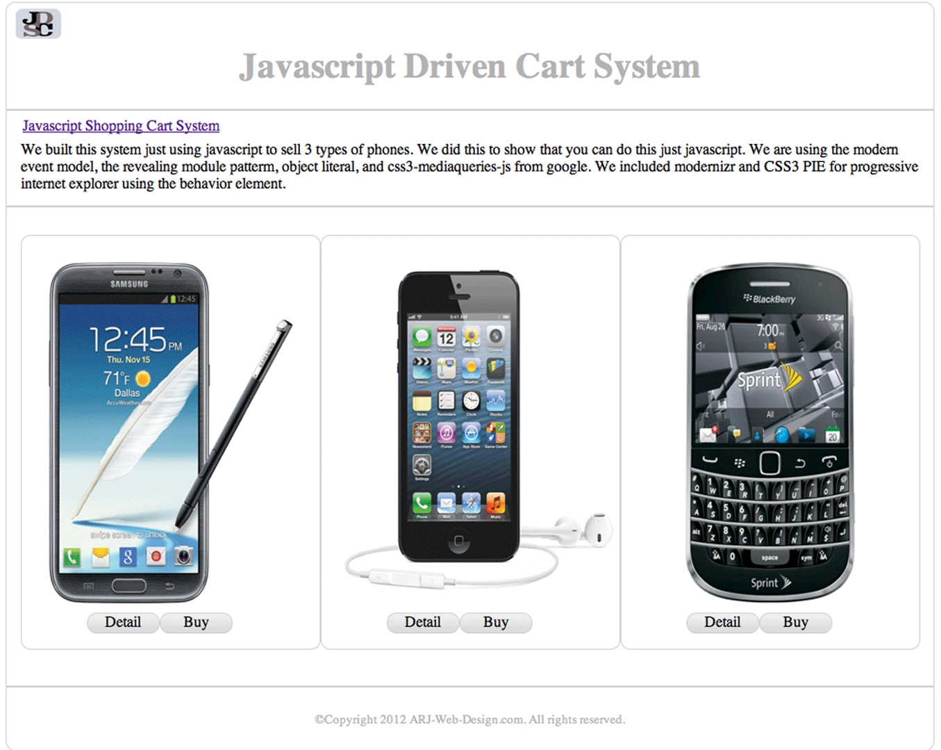 Javascript Cart Project image 1