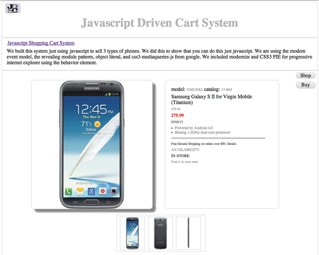 Javascript Cart Project image 2