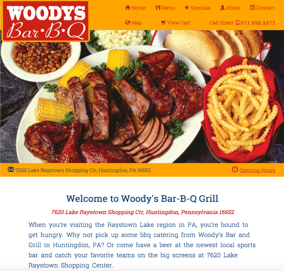 An image of a Template for Woodys BarBQ website design
