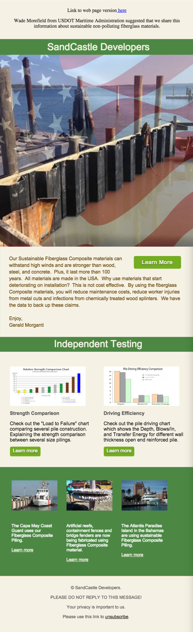 An image of Sandcastle Developer HTML Email Campaign